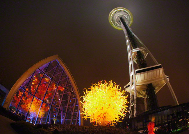 chihuly garden and glass seattle space needle at night