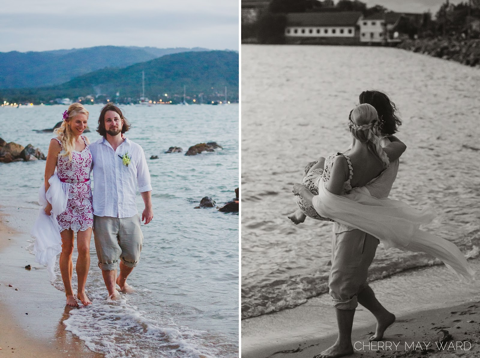 beautiful photos of newly wed couple on the beach, photos at Big Buddha beach, Koh Samui, destination bride, destination wedding on the beach in Thailand, Cherry May Ward Photography