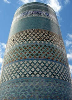 kalta minor khiva minaret covered in glazed tiles