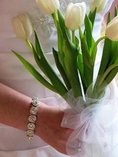 tulip bouquet held by bride