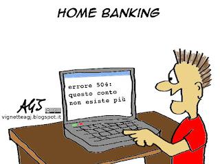 Banche, home banking, risparmiatori, vignetta satira