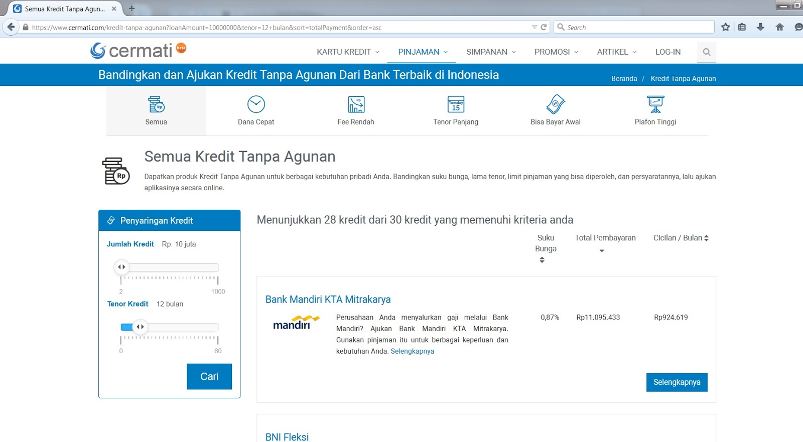 Buka www cermati com lalu pilih kredit tanpa agunan