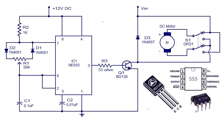 NE555 DC Motor Controller  Free electronic circuit diagrams