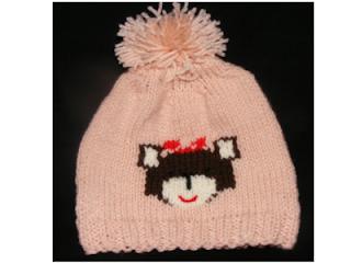 fes tricotat copii roz model catel