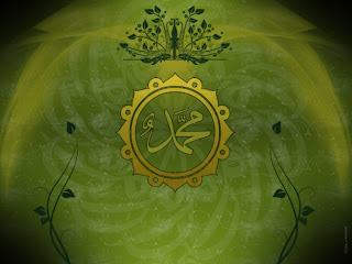 Calligraphy Muhammad Gold Green - Islamic Wallpaper