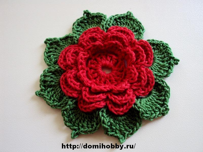 Knitting Flowers Crochet : Crochet knitting handicraft flower with leaves