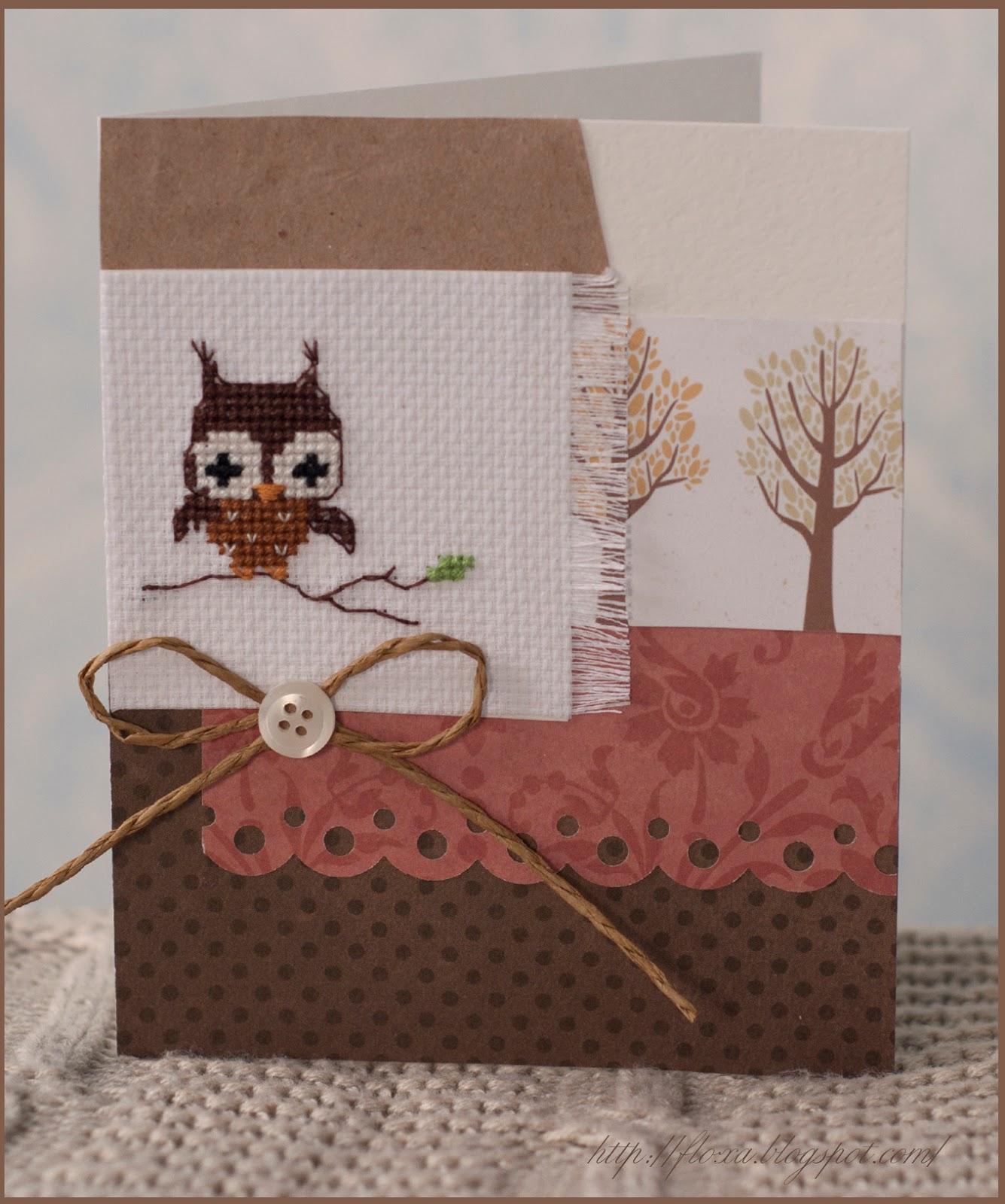 Christiane Dahlbeck,  Christiane Dahlbeck - Jahreszeiten. Herbst und Winter, вышивка сова, вышивка и скрапбукинг, вышивка искрап, вышивка сова маленькая, открытка с вышивкой, открытка осенняя