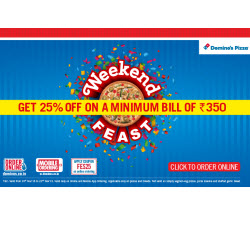 Domino's Pizza 25% off on Rs. 350 + 10% Cashback : Buytoearn
