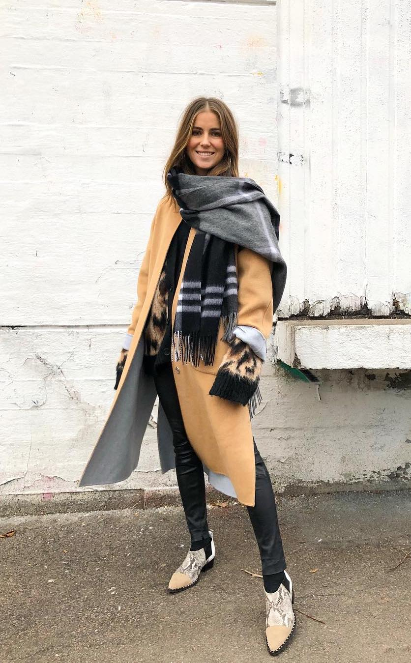 Oversized camel coat and oversized scarf