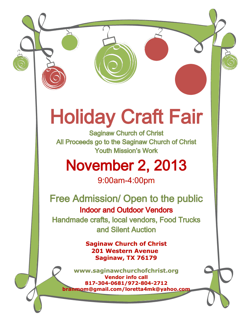 Holiday Craft Fair Application