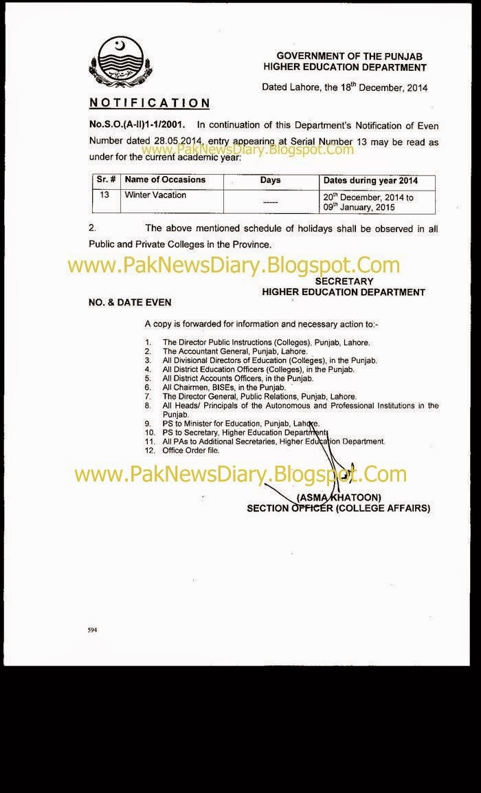 College Winter Vacation Notification 2014 Government of Punjab
