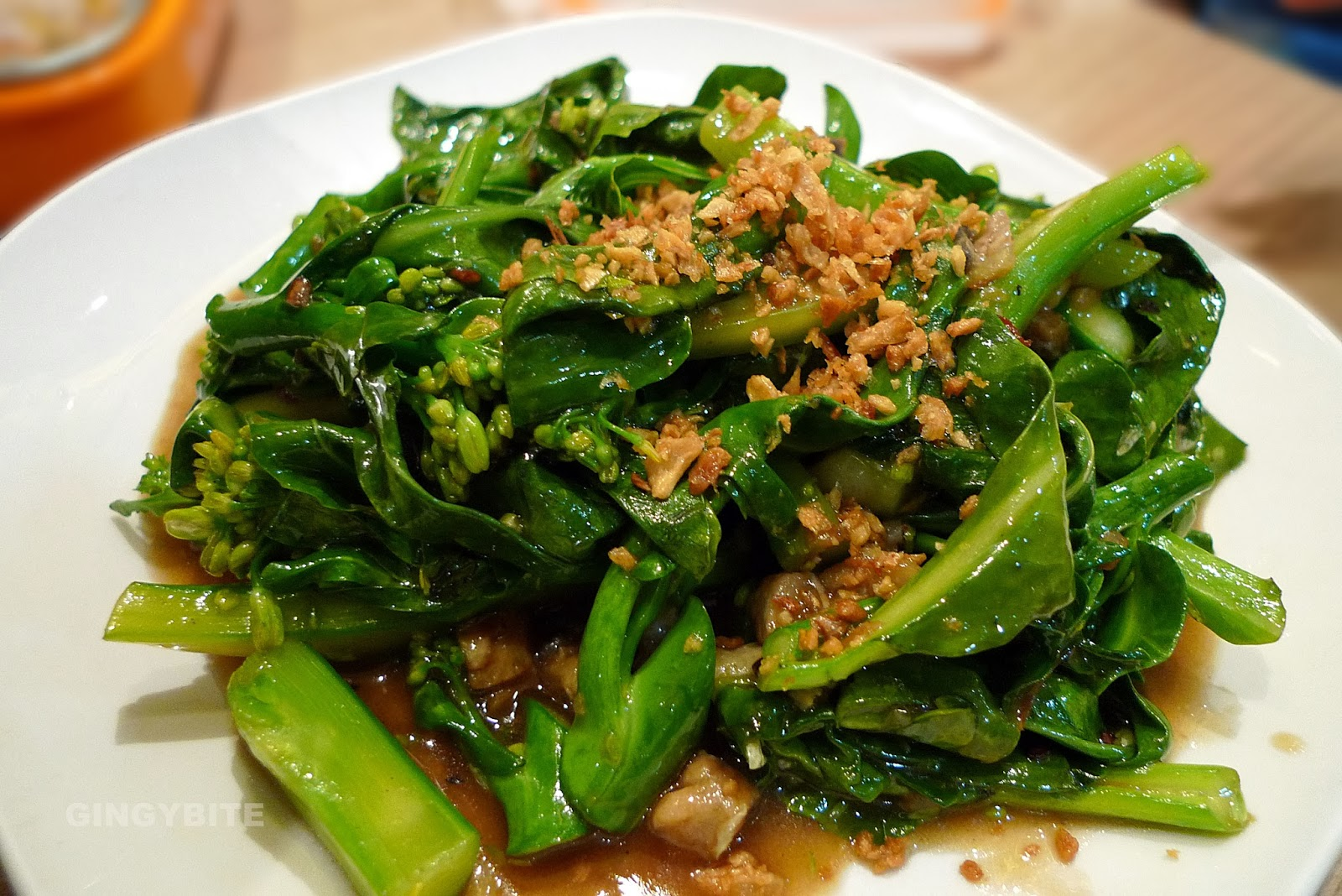 Stir-fried kai lan with salted fish