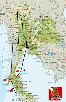 Itinéraire, trajet, thailande