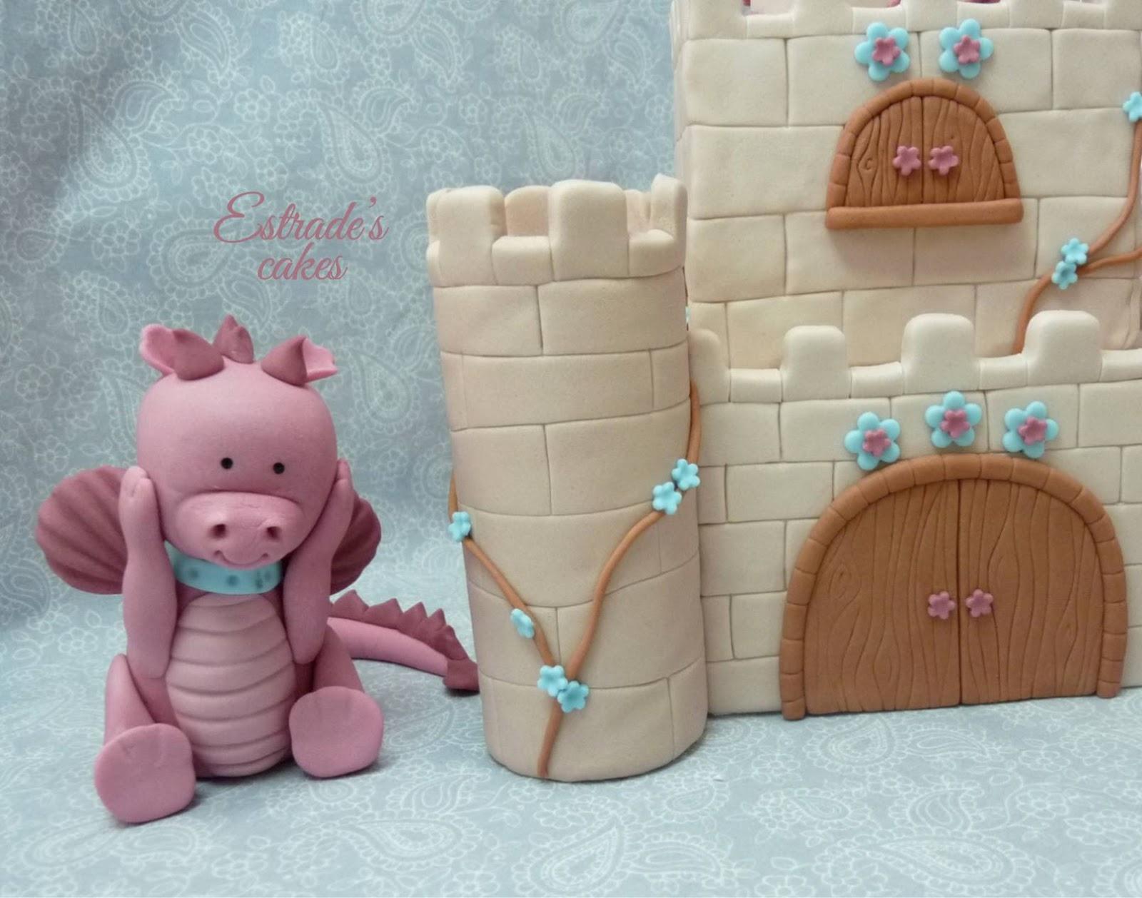 tarta castillo con dragón