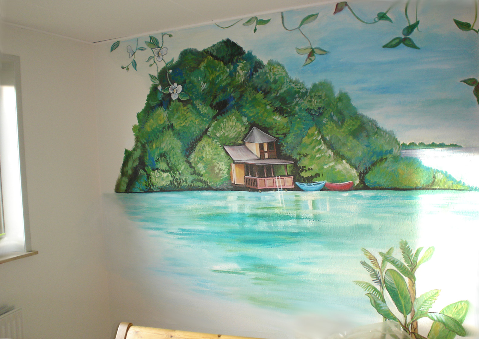 maggie murals tropical shore wall mural. Black Bedroom Furniture Sets. Home Design Ideas