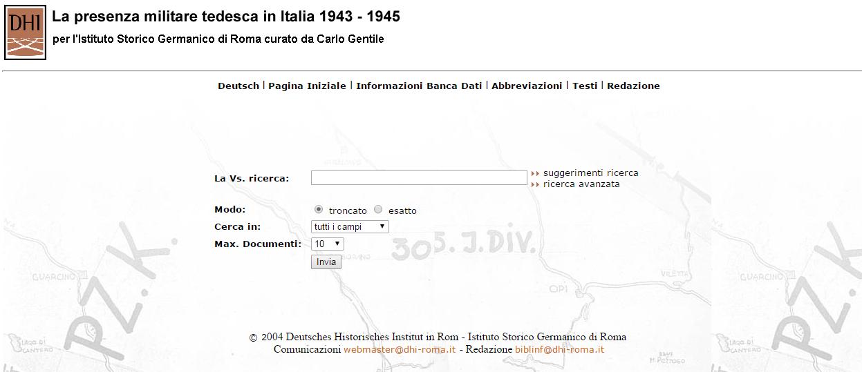 Presenza militare tedesca in Italia 1943-1945  - Banca dati online -