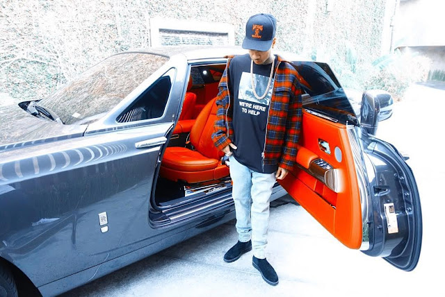 Rapper Tyga Poses With His 133m Naira Rolls Royce Phantom Coupe (Photos)