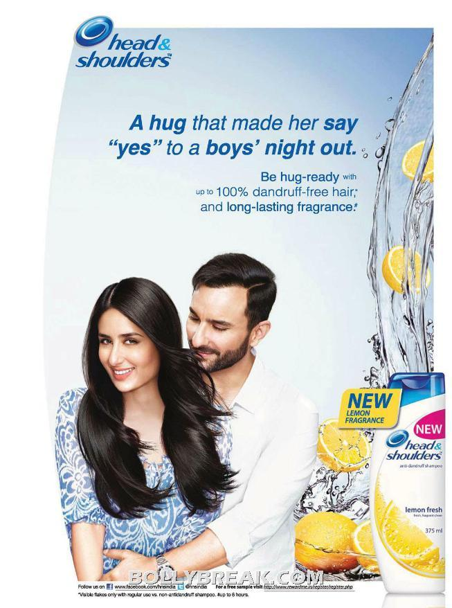 Kareena Kapoor Head & shoulders Hair Shampoo Ad with Saif ali Khan - Kareena Kapoor Head & shoulders Ad