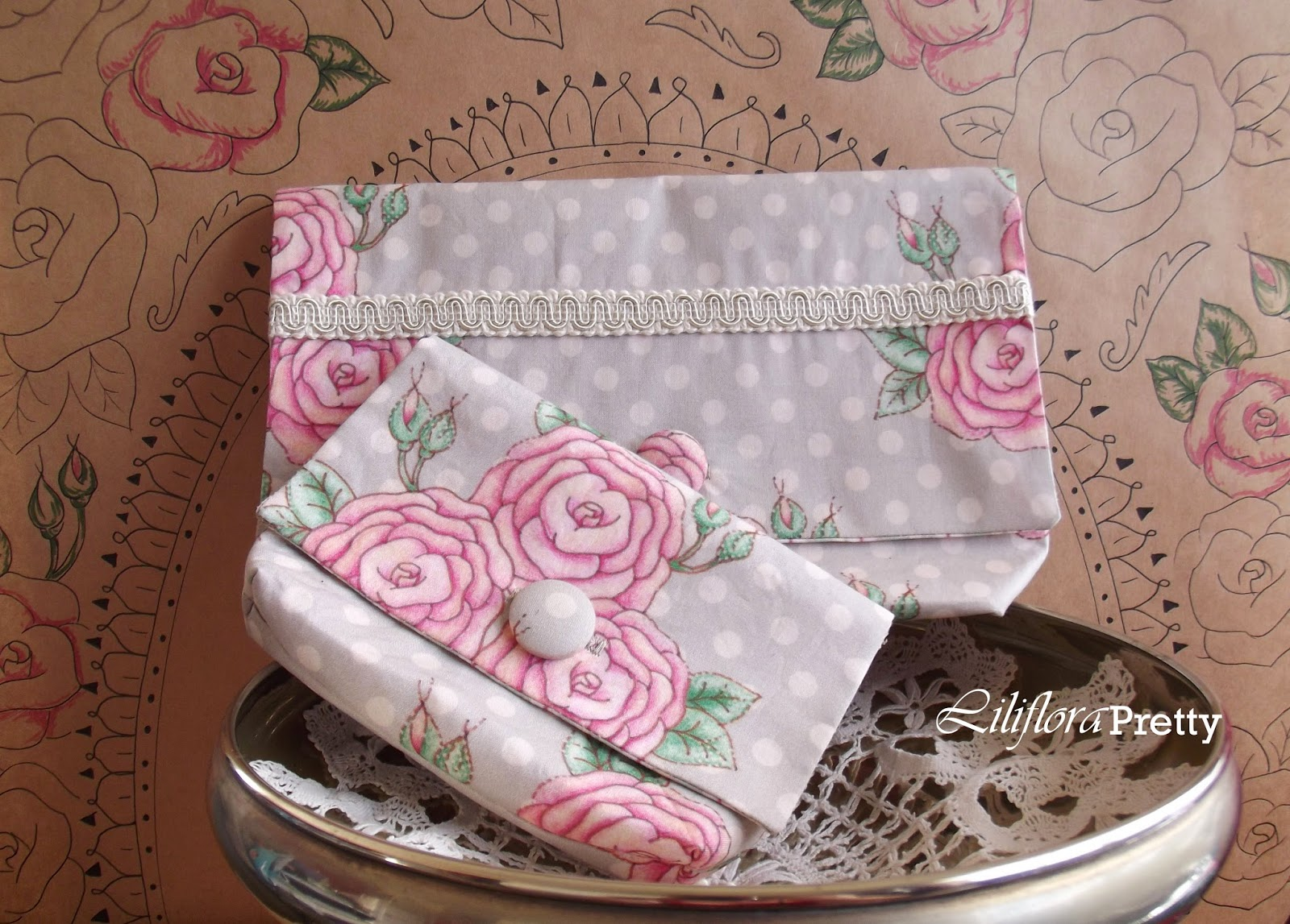 Liliflora Pretty Coy Blooms Clutch Purses large and small