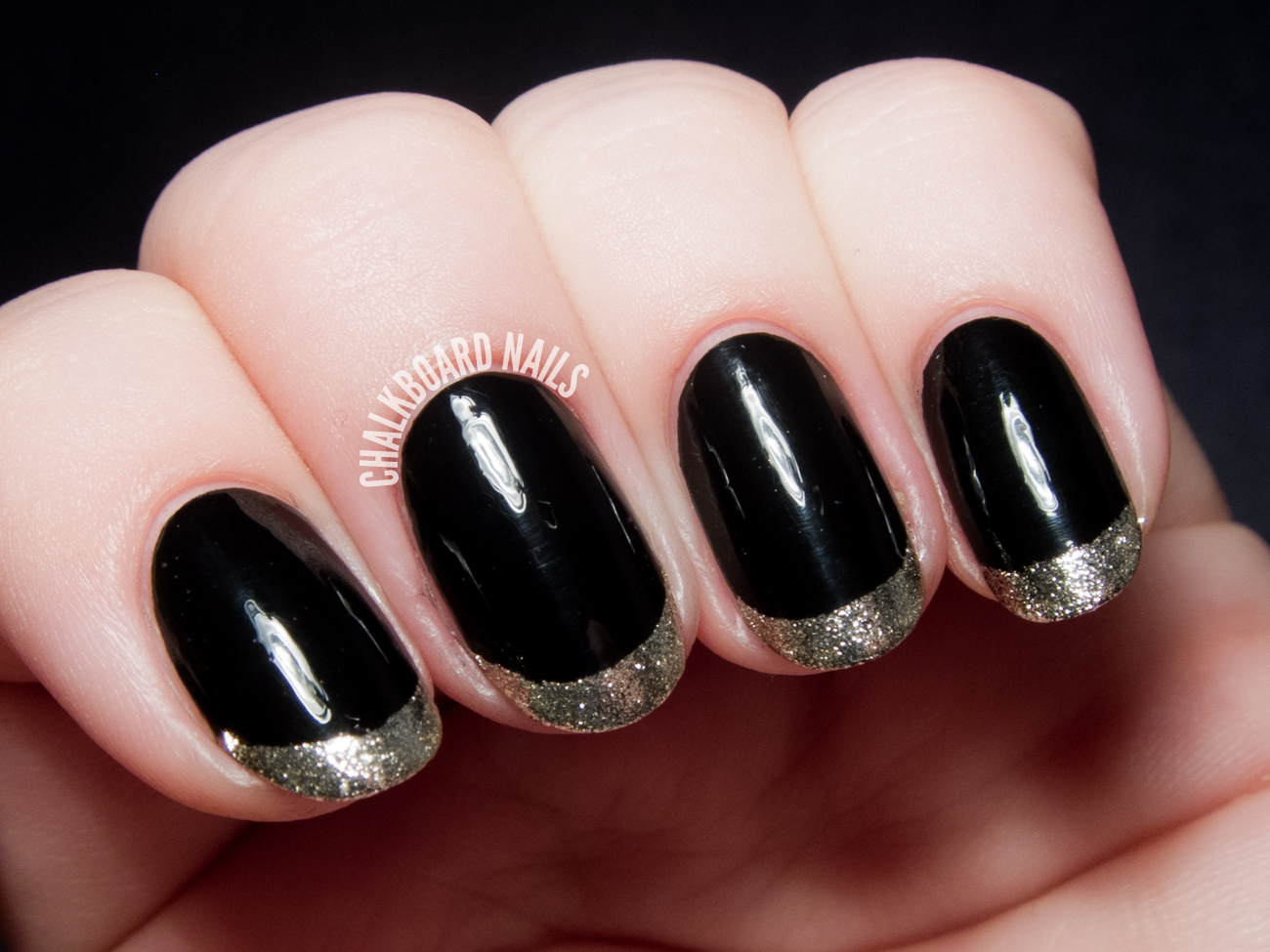 Metallic gold French tips by @chalkboardnails