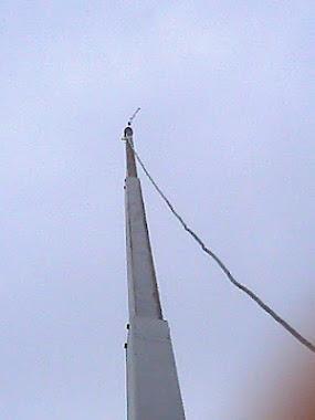 De mast op ongeveer 11 meter hoog