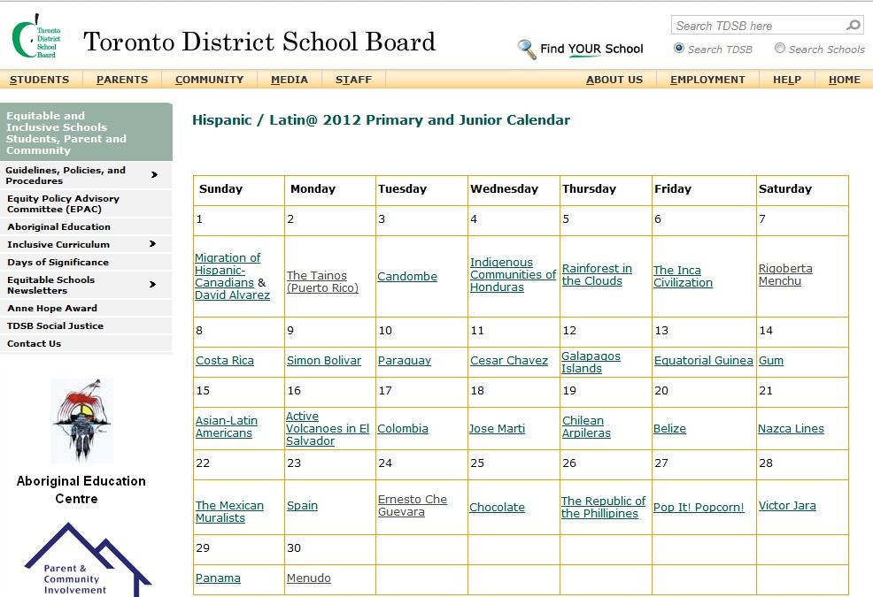 Elementary School Calendar 2012