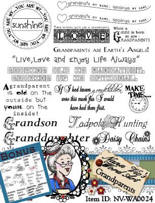 Grandparents word art sheet