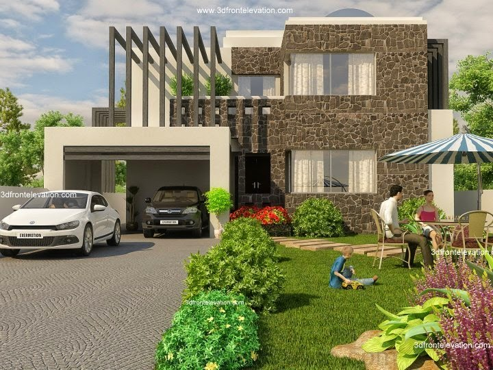 3d front beautiful modern 1 kanal home for Canal front house plans