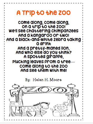 The Very Busy Classroom: A Trip to the Zoo Poetry