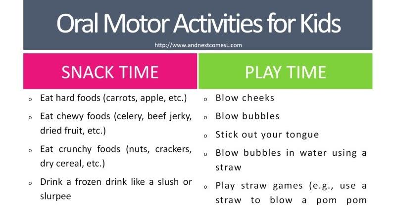 Oral Motor Activities Free Printable List Frugal Autism