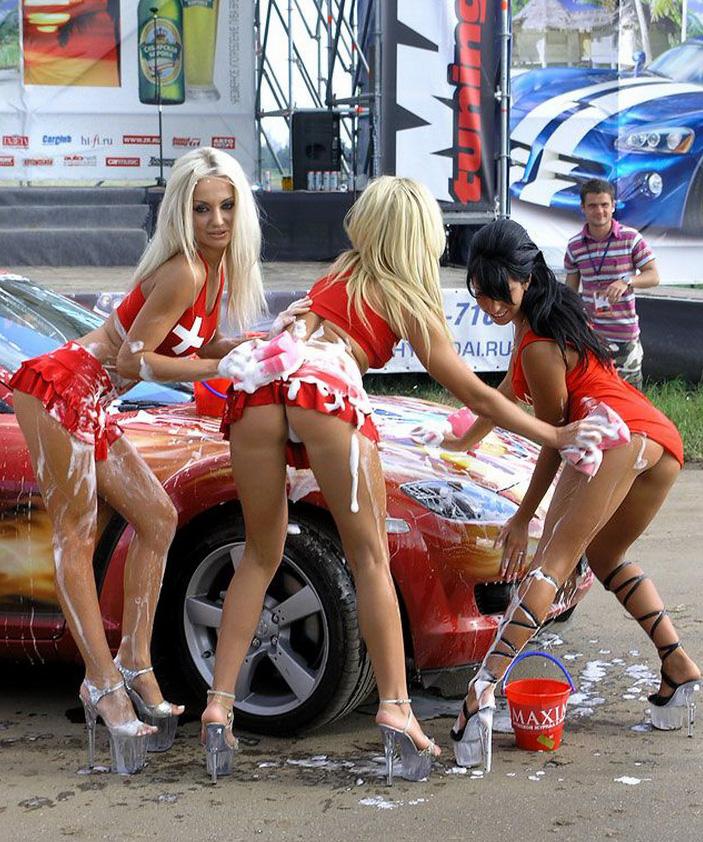Mazda RX-8, car wash, dziewczyny myją samochód