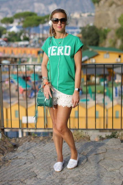 white lace espadrillas, Rebecca Minkoff green zipper bag, Fashion and Cookies, fashion blog