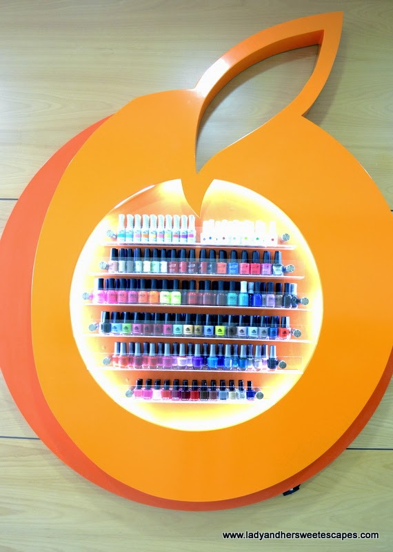 an array of nail polish at Orange Beauty Center