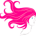 Woman face with long decorative pink hair Vector