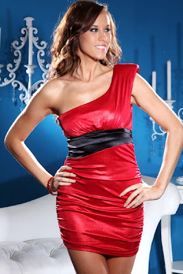 RED SEXY SHIMMERY ONE SHOULDER RUCHED MINI DRESS