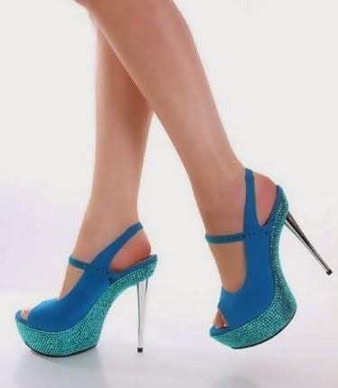 Blue and light blue heels