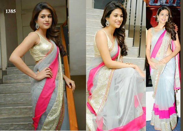 1385 - Shraddha Das in Grey Saree From Rey Telugu Movie Teaser Release