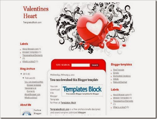 valantine heart Red blogger template and simple love design theme for blogspot
