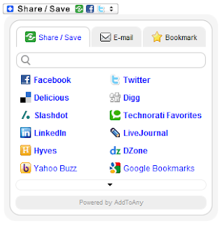 A preview of Add to any social  bookmarking widget added to website or a blog