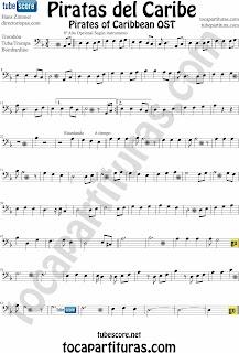 Partitura de Piratas del Caribe para Trombón, Bombardino, y Tuba. Tampién sirve la partitura de Piratas del Caribe para Bombardino y Tuba ( Sheet Music Pirates of the Caribbean Trombone, Tube Music Score). Para tocar con el primer vídeo (a la vez, suena igual)