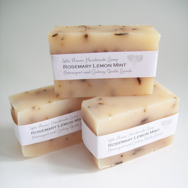 all natural soap organic rosemary lemongrass mint peppermint soap, the little flower soap co sweet pea floral design natural handmade body care cocoanut oil olive oil moisturizing antibacterial soap hippie soap farmhouse soap rustic soap