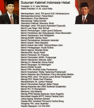 Susunan Menteri Kabinet Indonesia Hebat