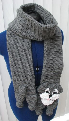 Dog Muzzle Knitting Pattern : Donnas Crochet Designs Blog of Free Patterns: Schnauzer Scarf and Tote C...