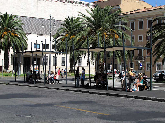 Cruise ships shuttle bus shelter, Piazza del Municipio, Livorno