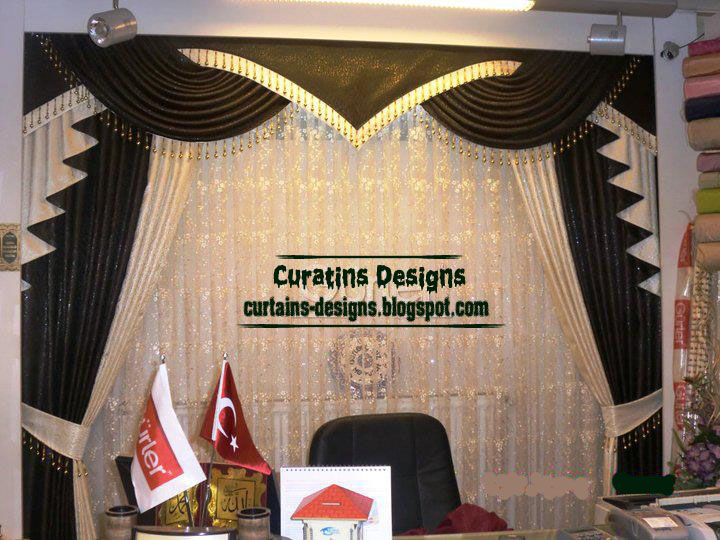 Luxury turkish drapery design with black curtain