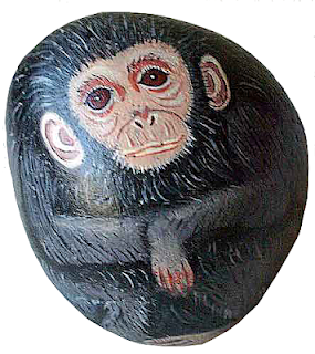 painted rocks, rock painting, critter, chimpanzee