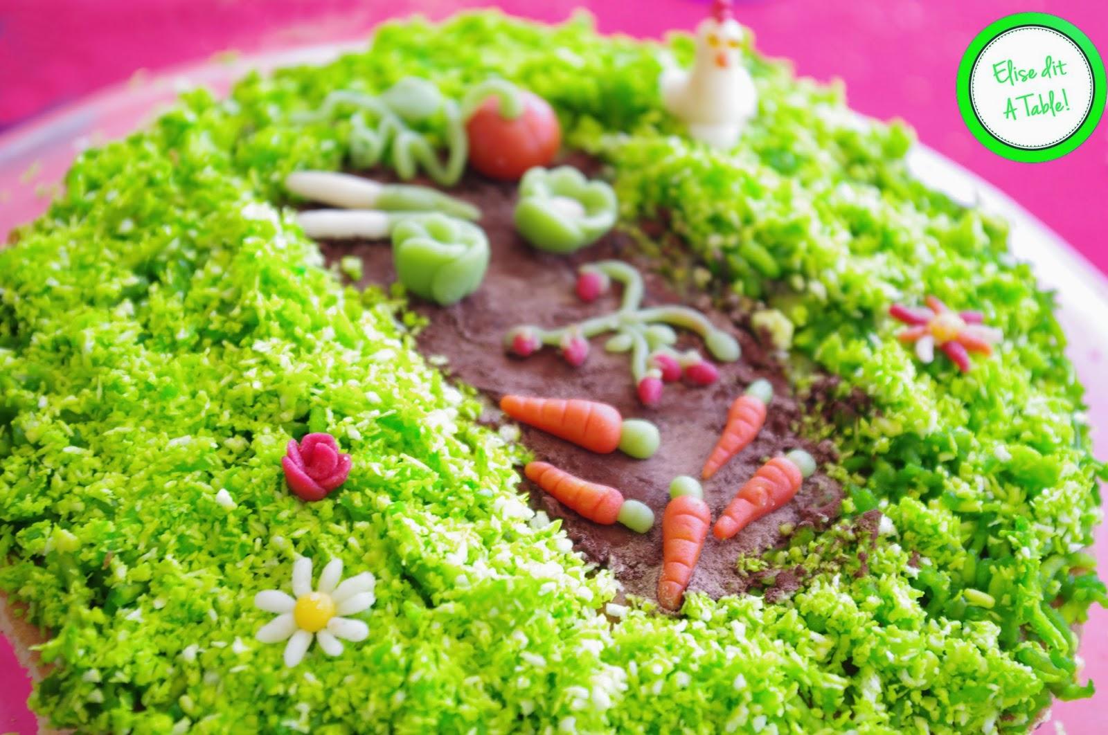 G teau anniversaire th me potager elise dit table for Jardinage decoration jardin