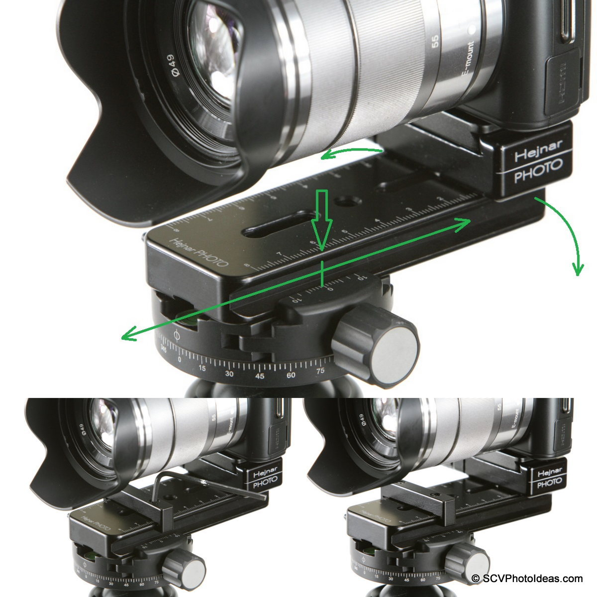 Sony NEX-C3 + Mini MR Pano Nodal rail adjustment sequence