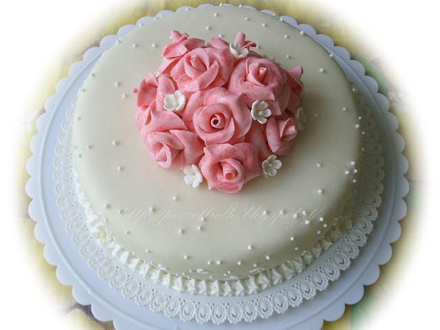 (PDZ-SAP) Torta con rose rosa marmorizzate