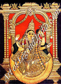 Saraswati, Goddess of Learning and Wisdom Thanjavur Painting